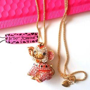 NEW BJ Necklace Elephant Crystal Pendant